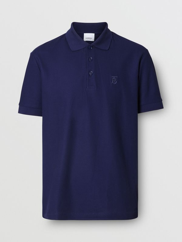 Monogram Motif Cotton Piqué Polo Shirt in Indigo - Men | Burberry - cell image 3
