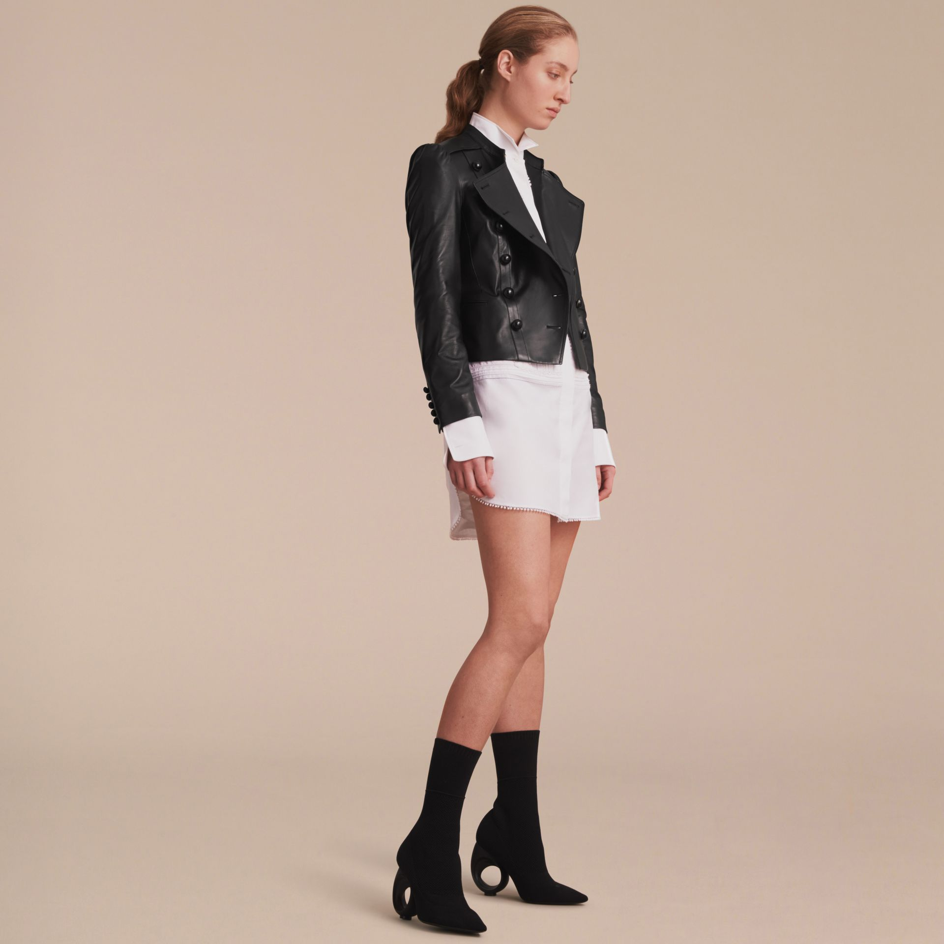 Lambskin Double-breasted Jacket - gallery image 6