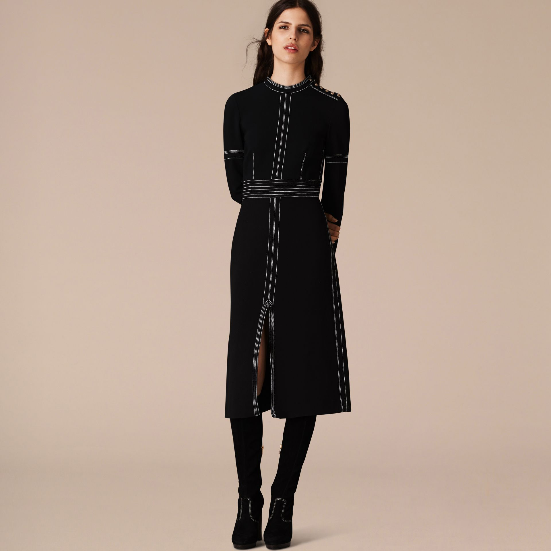 Black Regimental Wool Silk Shift Dress - gallery image 4