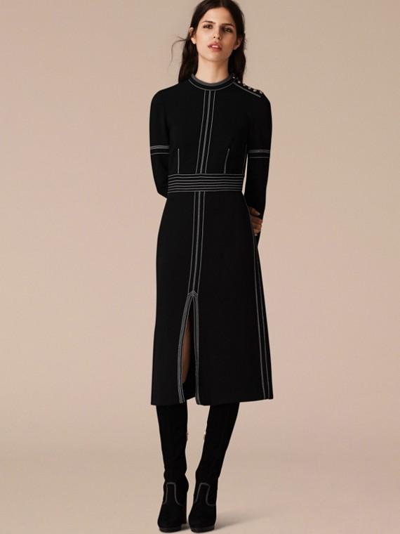 Black Regimental Wool Silk Shift Dress - cell image 3