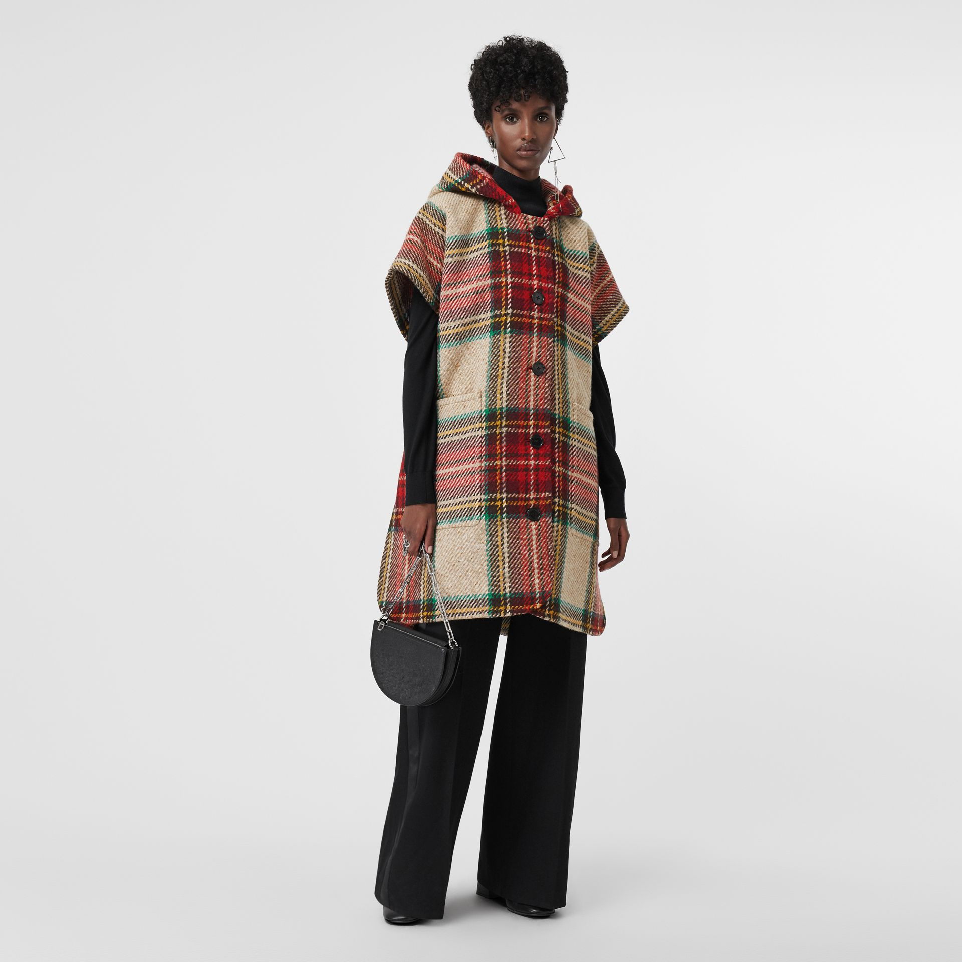 Tartan Wool Hooded Poncho in Crimson - Women | Burberry - gallery image 0