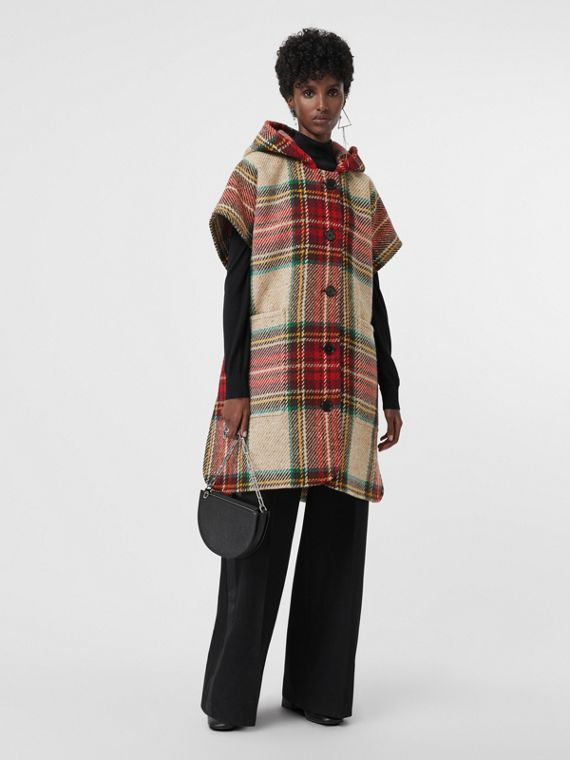 Tartan Wool Hooded Poncho in Crimson