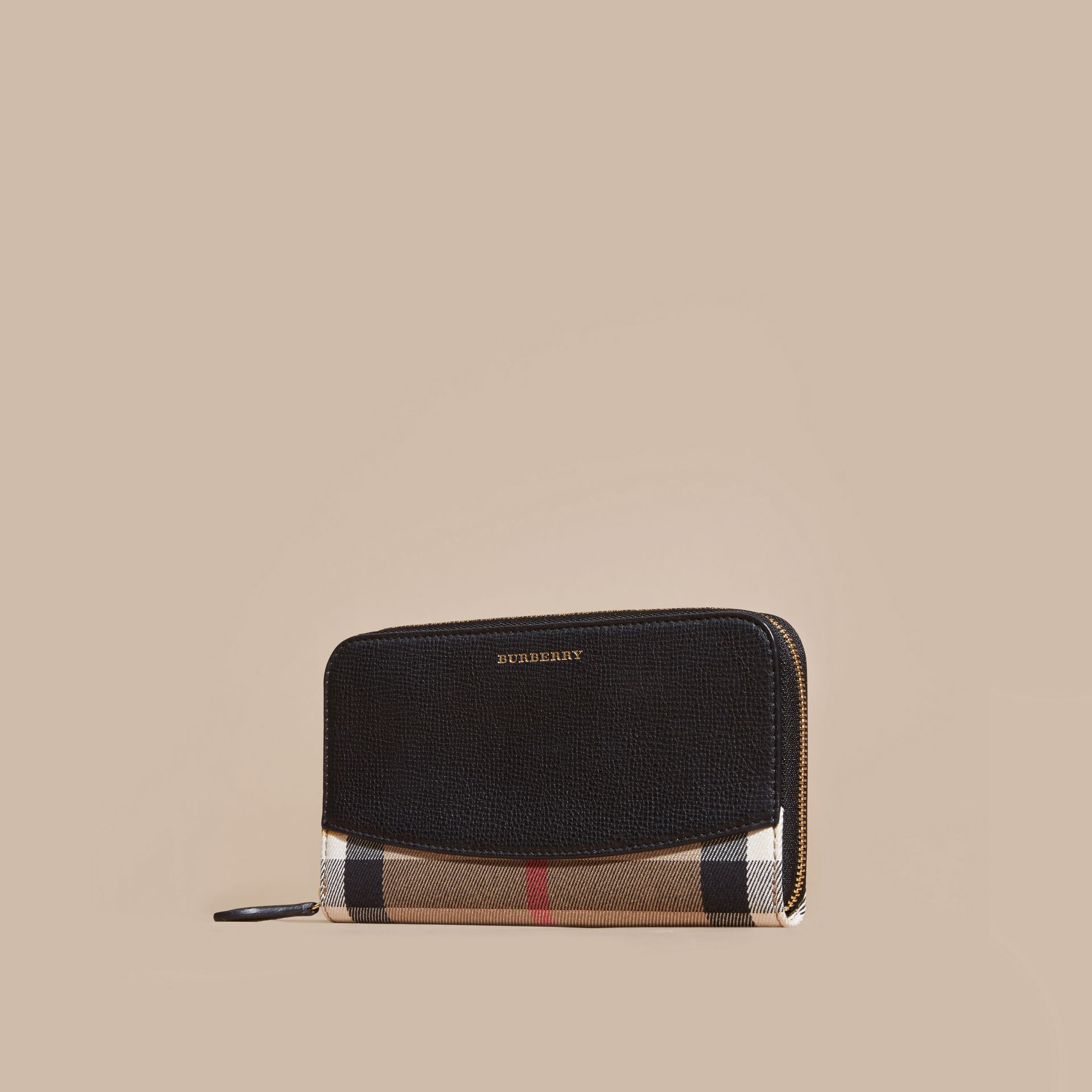 House Check and Leather Ziparound Wallet in Black - Women | Burberry - gallery image 6
