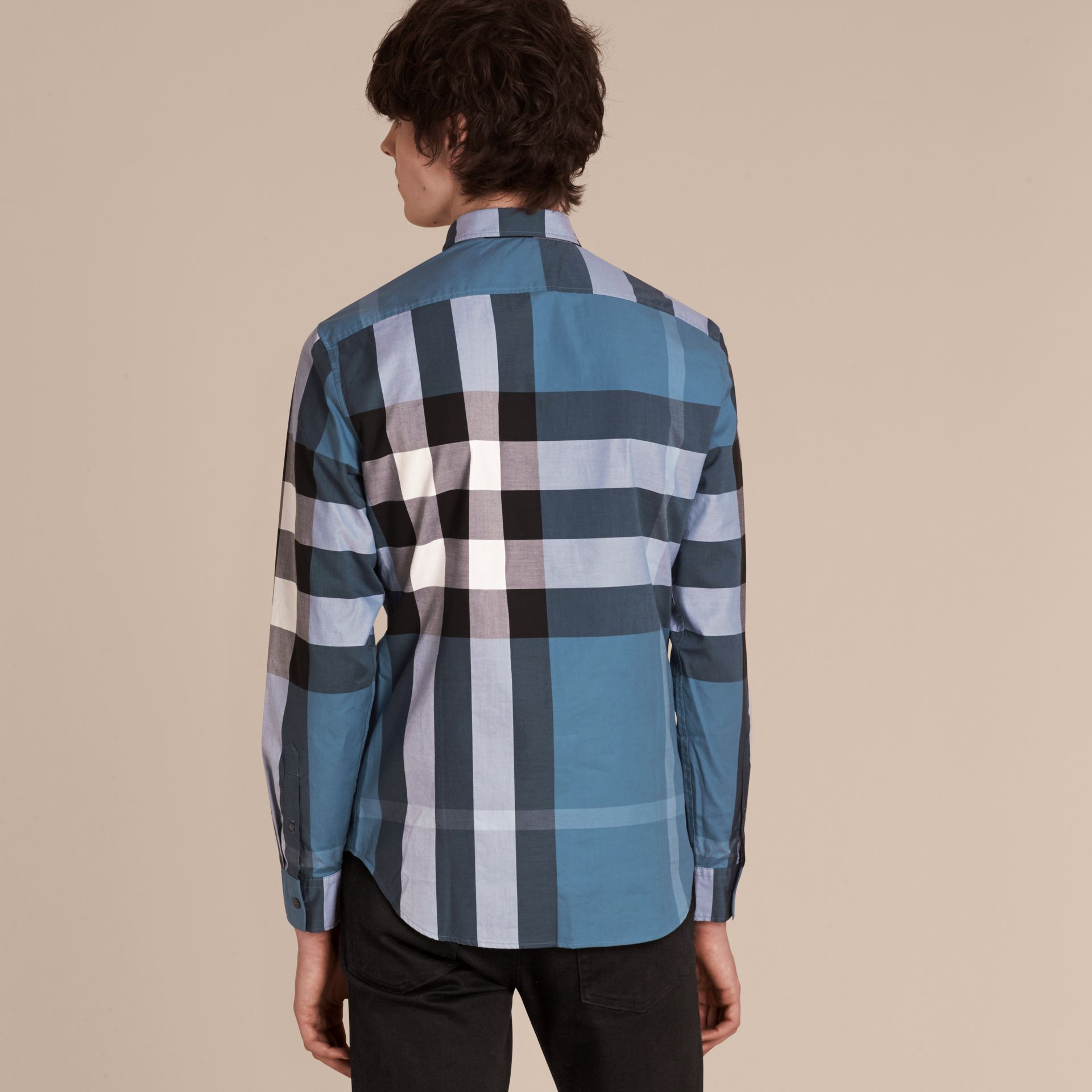 Lupin blue Check Cotton Shirt Lupin Blue - gallery image 3