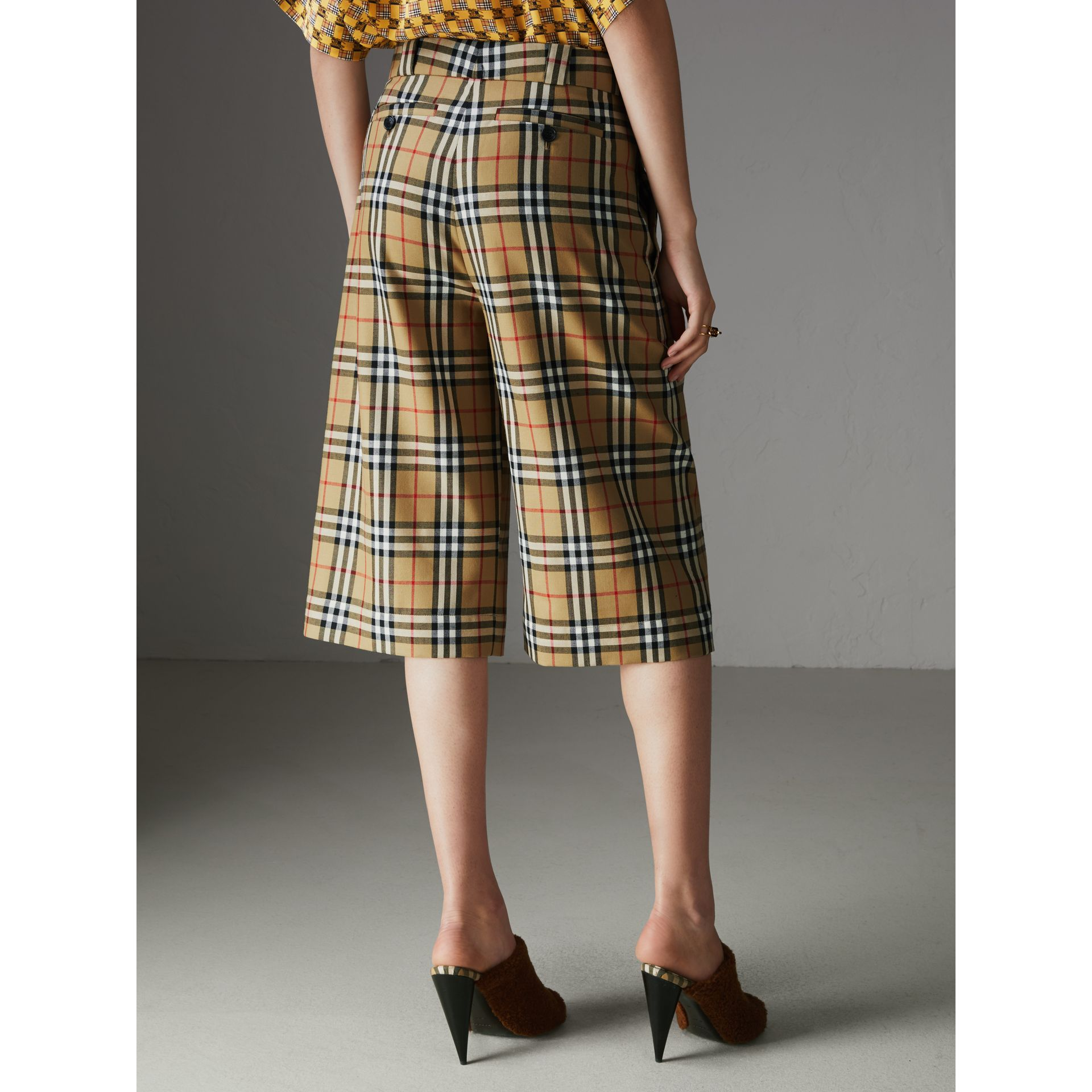 Vintage Check Wool Tailored Culottes in Antique Yellow - Women | Burberry - gallery image 2