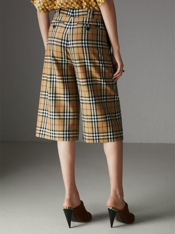 Vintage Check Wool Tailored Culottes in Antique Yellow - Women | Burberry - cell image 2