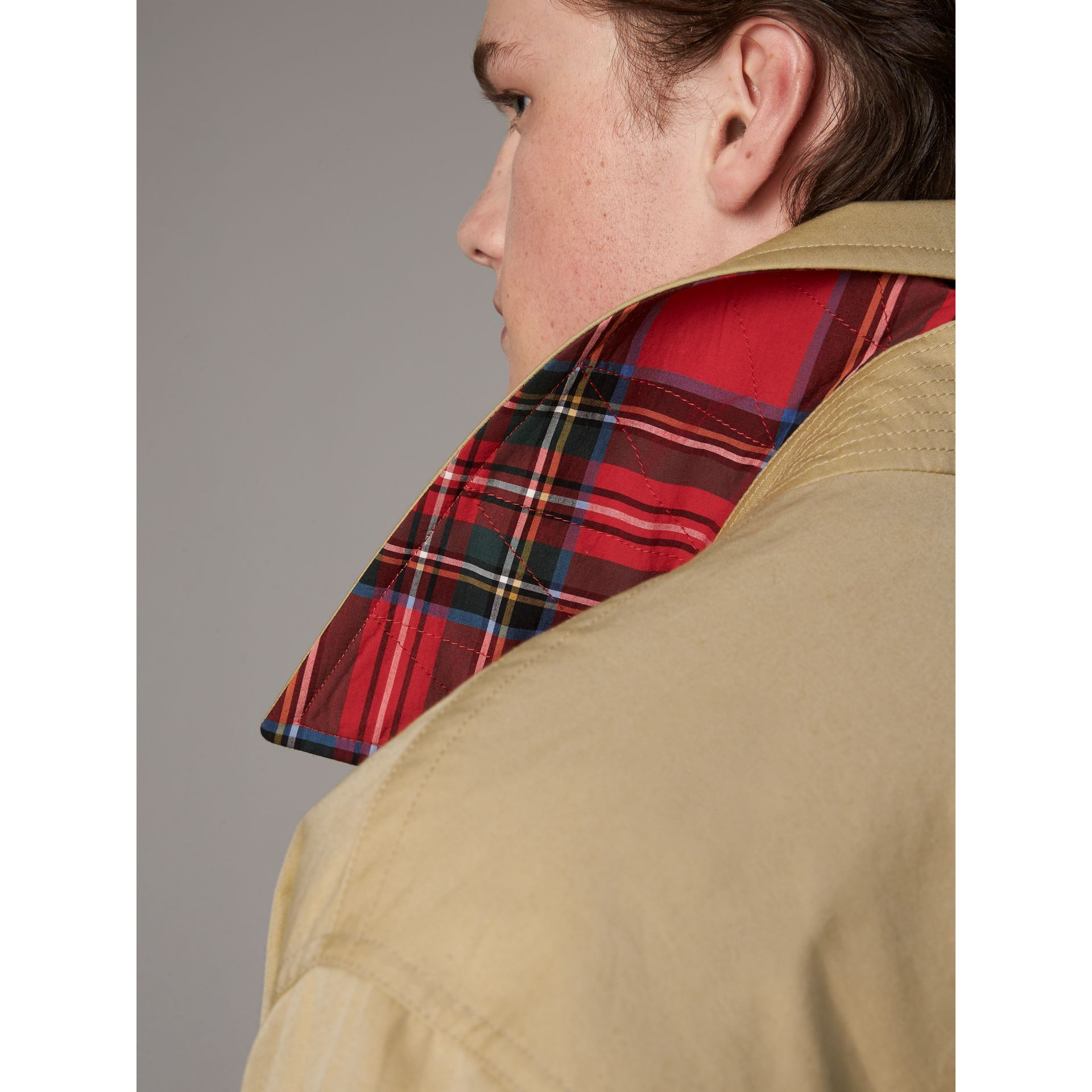 Sketch Print Cotton Gabardine Harrington Jacket in Honey - Men | Burberry - gallery image 4