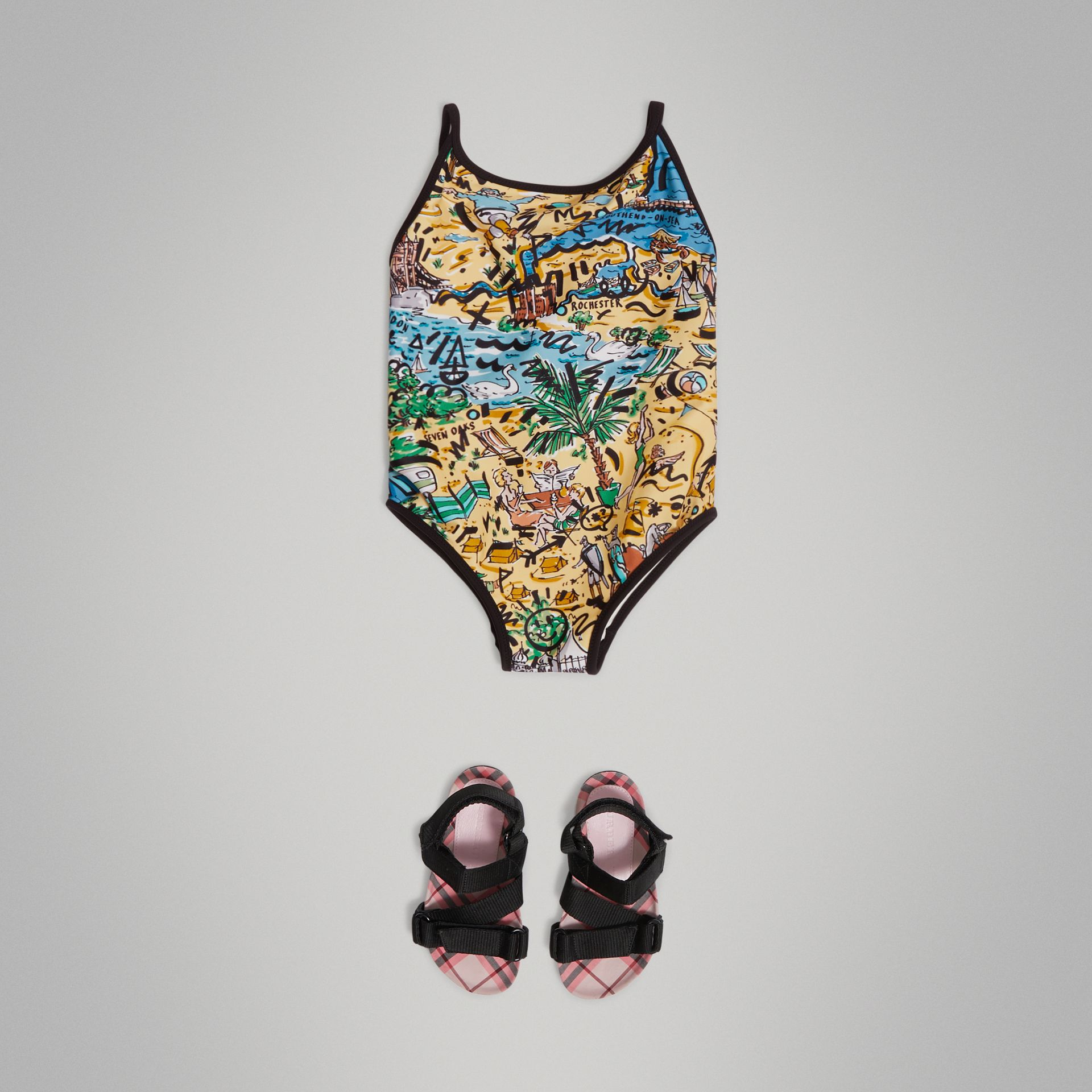 Seaside Print One-piece Swimsuit in Honey - Girl | Burberry - gallery image 0