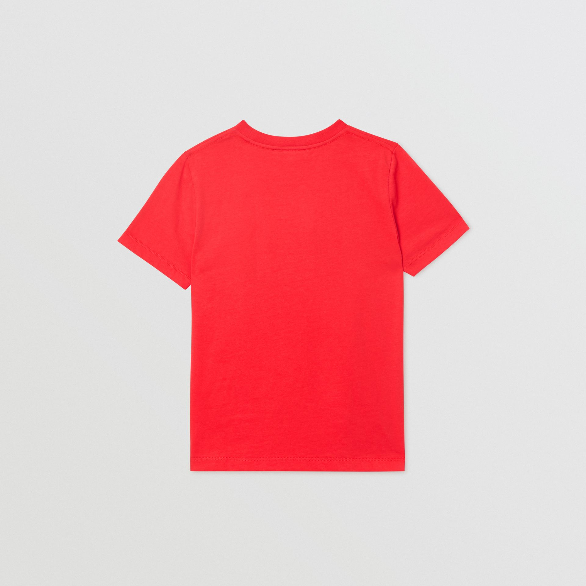 Logo Print Cotton T-shirt in Bright Red | Burberry - gallery image 4