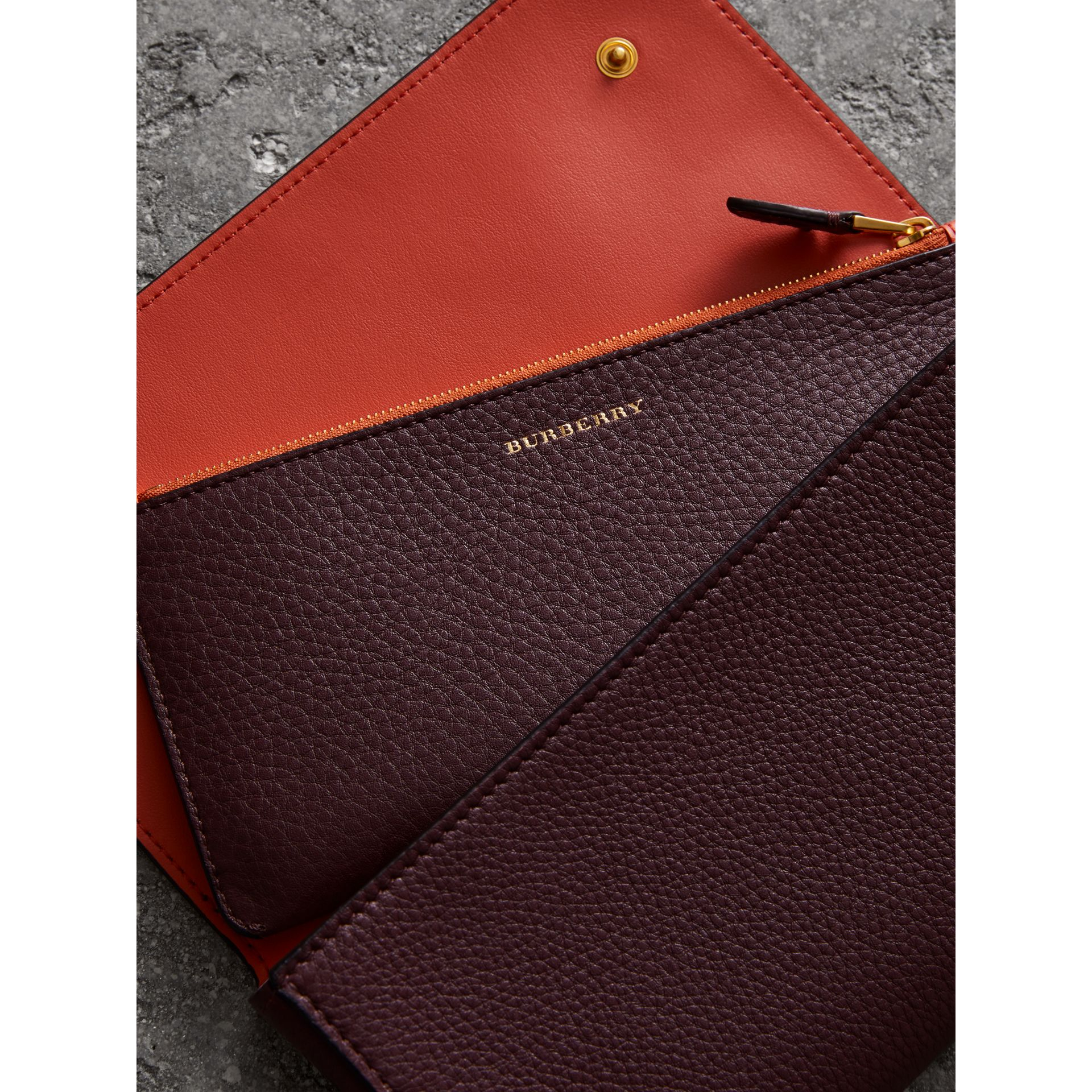 Two-tone Leather Continental Wallet in Deep Claret - Women | Burberry United States - gallery image 3