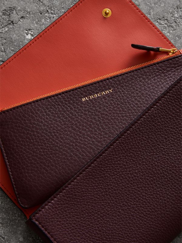 Two-tone Leather Continental Wallet in Deep Claret - Women | Burberry Hong Kong - cell image 3