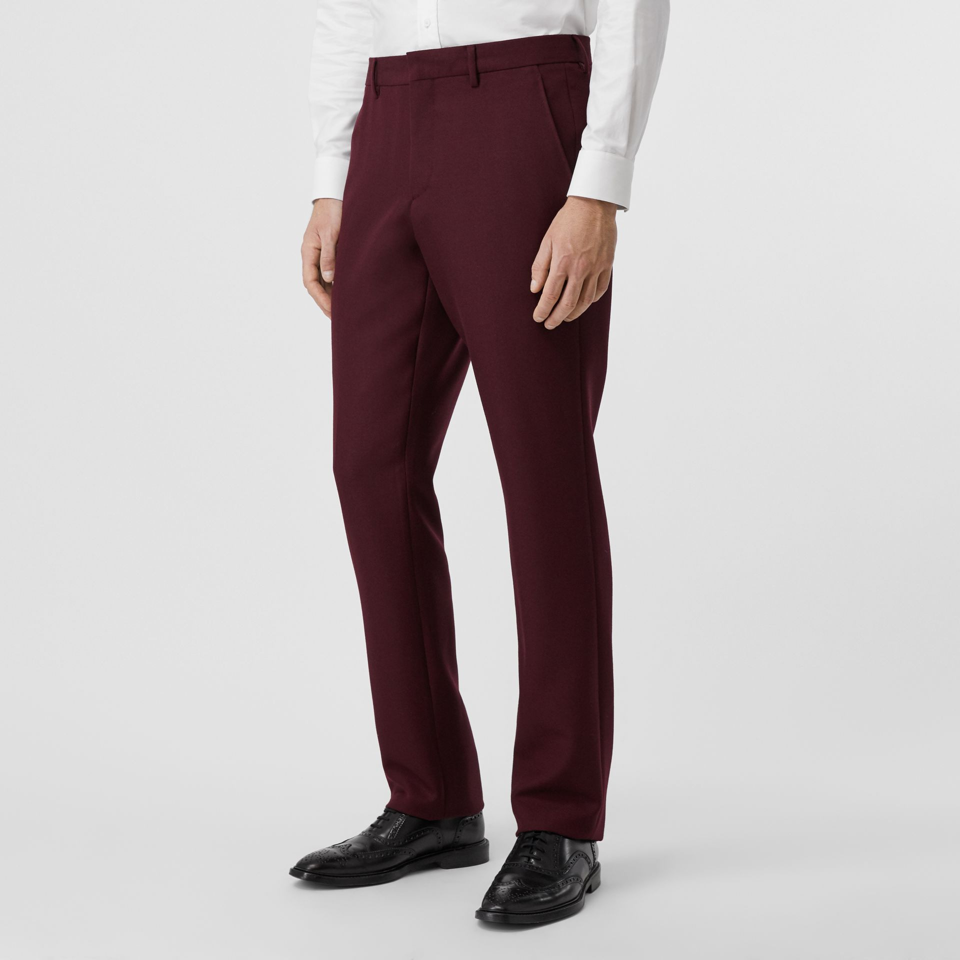 Classic Fit Wool Mohair Tailored Trousers in Deep Burgundy - Men | Burberry - gallery image 4