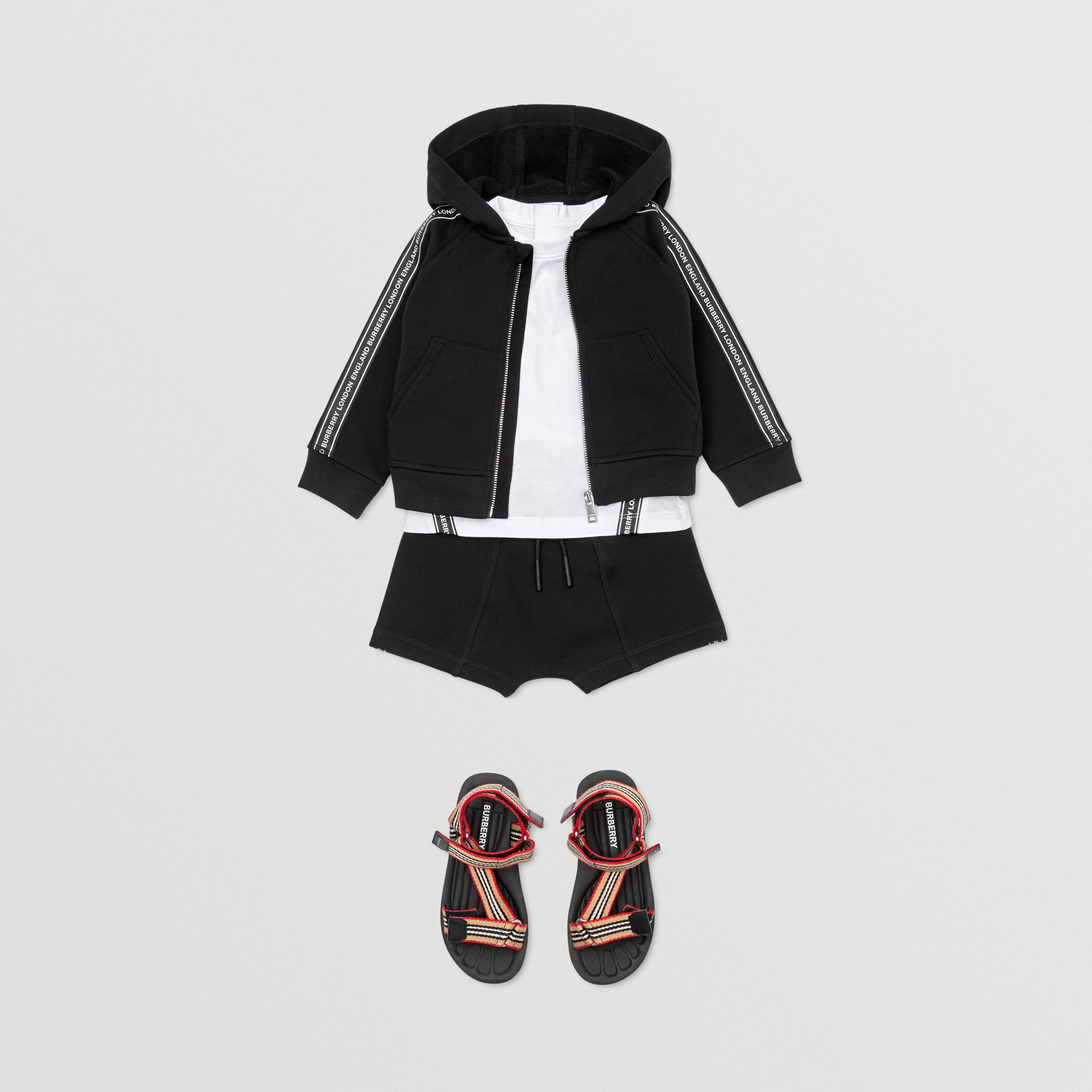Logo Tape Cotton Hooded Top in Black - Children | Burberry - gallery image 3