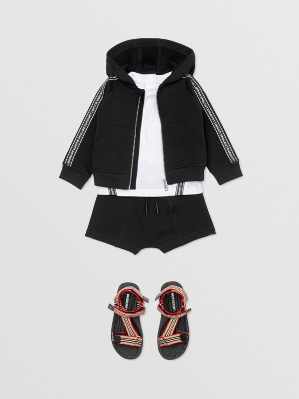 Logo Tape Cotton Hooded Top in Black - Children | Burberry - cell image 3