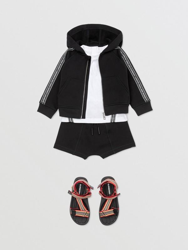 Logo Tape Cotton Hooded Top in Black - Children | Burberry Australia - cell image 3