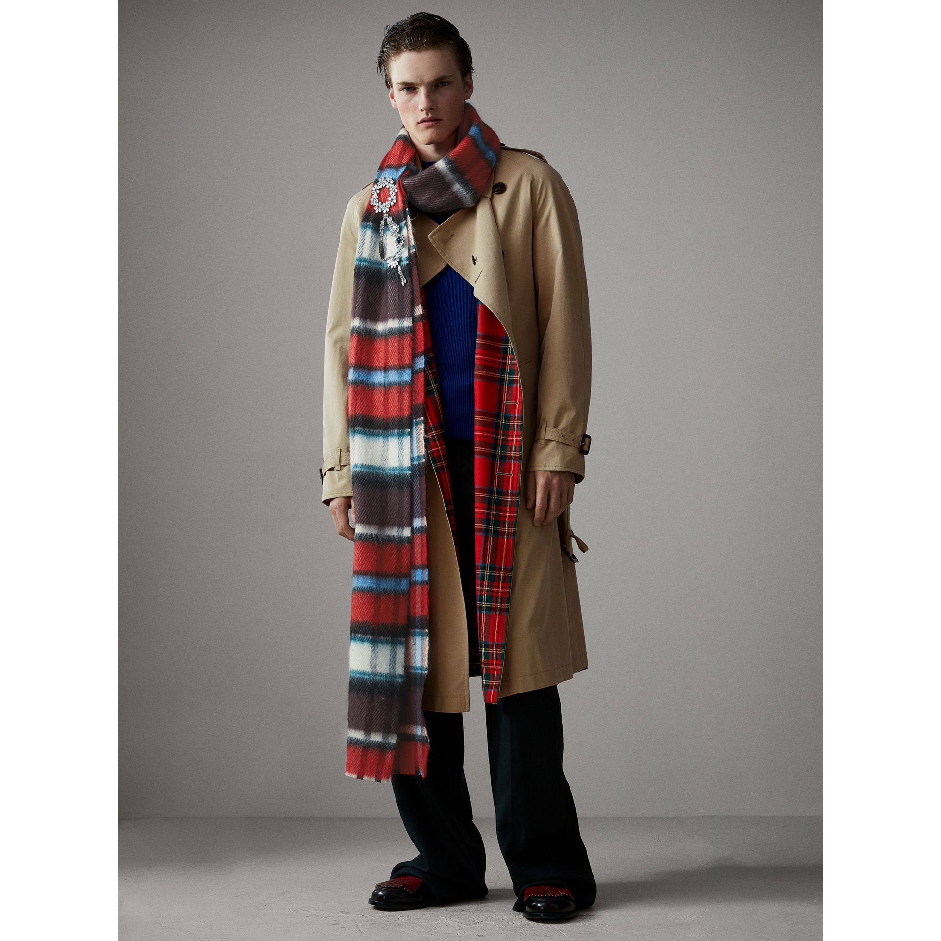 Long Check Wool Mohair Blend Scarf in Red | Burberry - gallery image 4