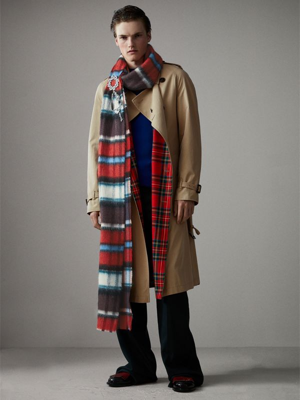 Long Check Wool Mohair Blend Scarf in Red | Burberry - cell image 3