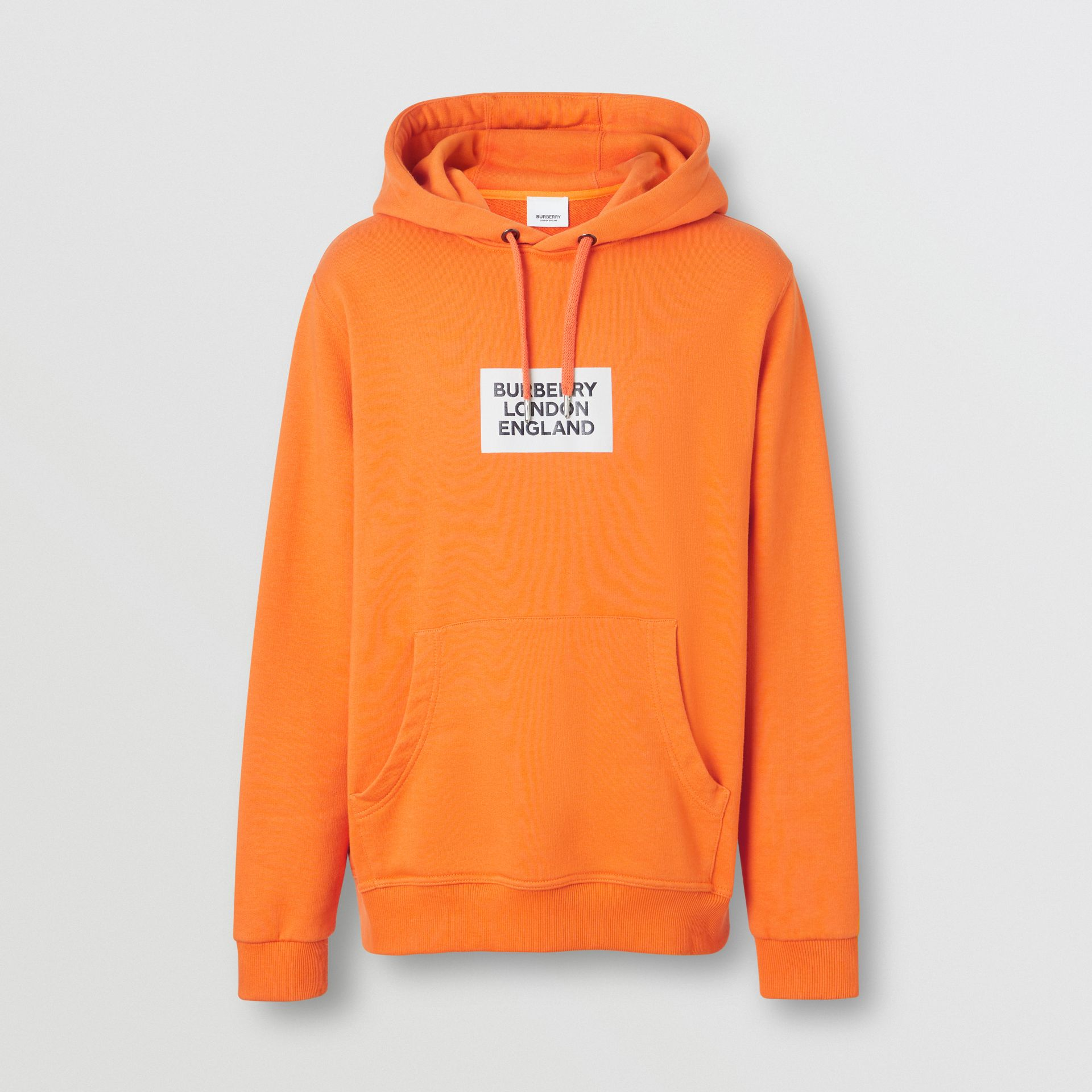 Logo Print Cotton Hoodie in Bright Orange - Men | Burberry - gallery image 3