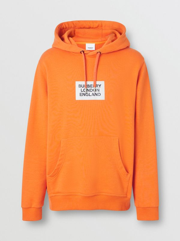 Logo Print Cotton Hoodie in Bright Orange - Men | Burberry - cell image 3