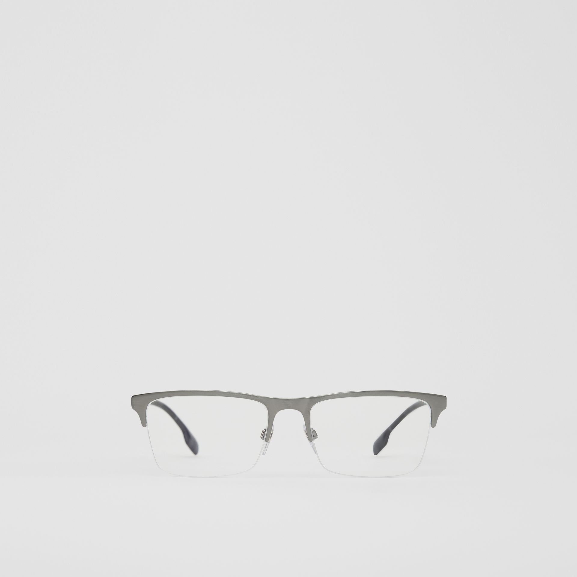Rectangular Optical Frames in Gunmetal Grey - Men | Burberry United Kingdom - gallery image 0
