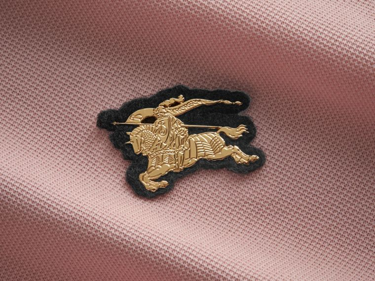 Cotton Piqué Polo Shirt in Chalk Pink - Men | Burberry - cell image 1