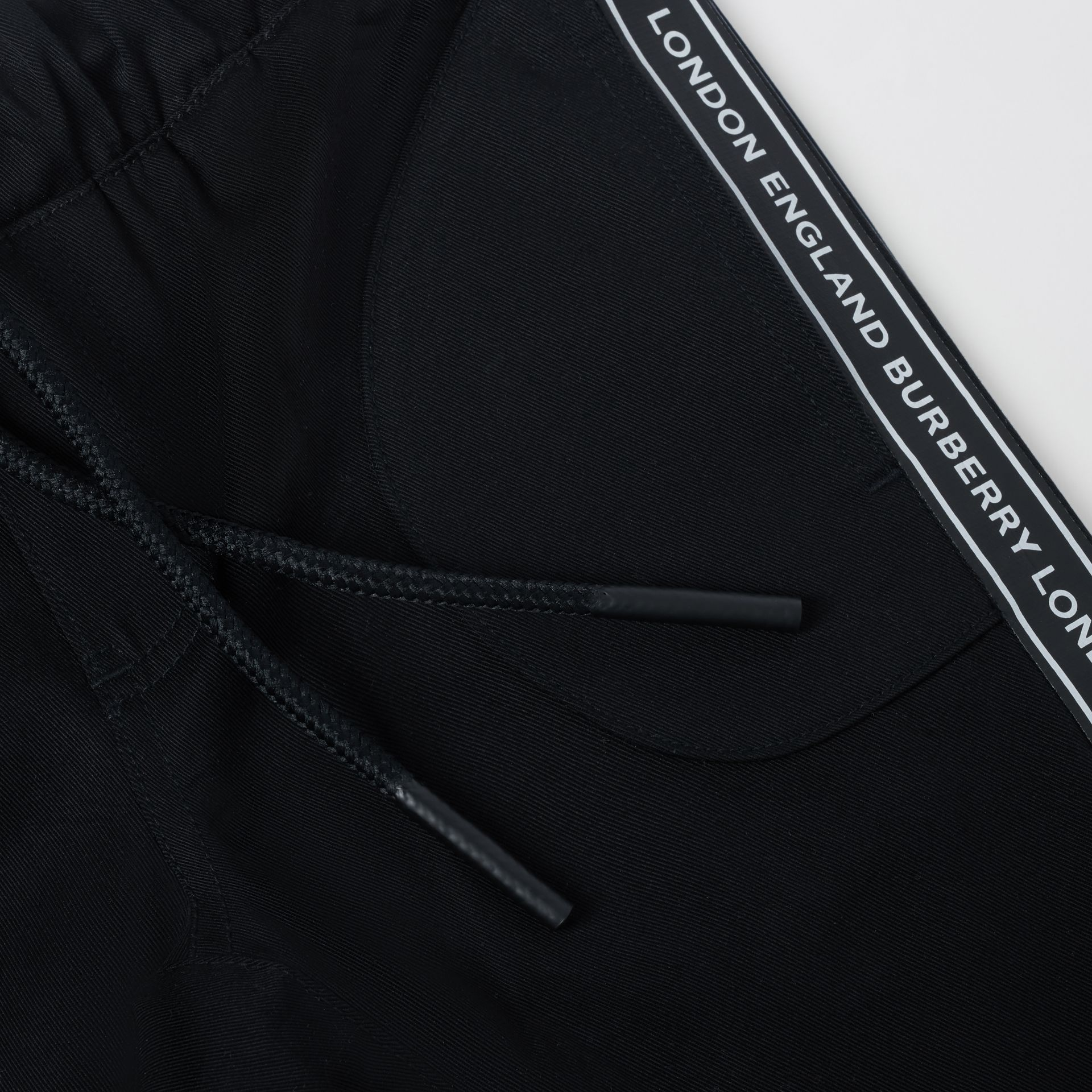Logo Tape Cotton Chinos in Black - Children | Burberry - gallery image 1