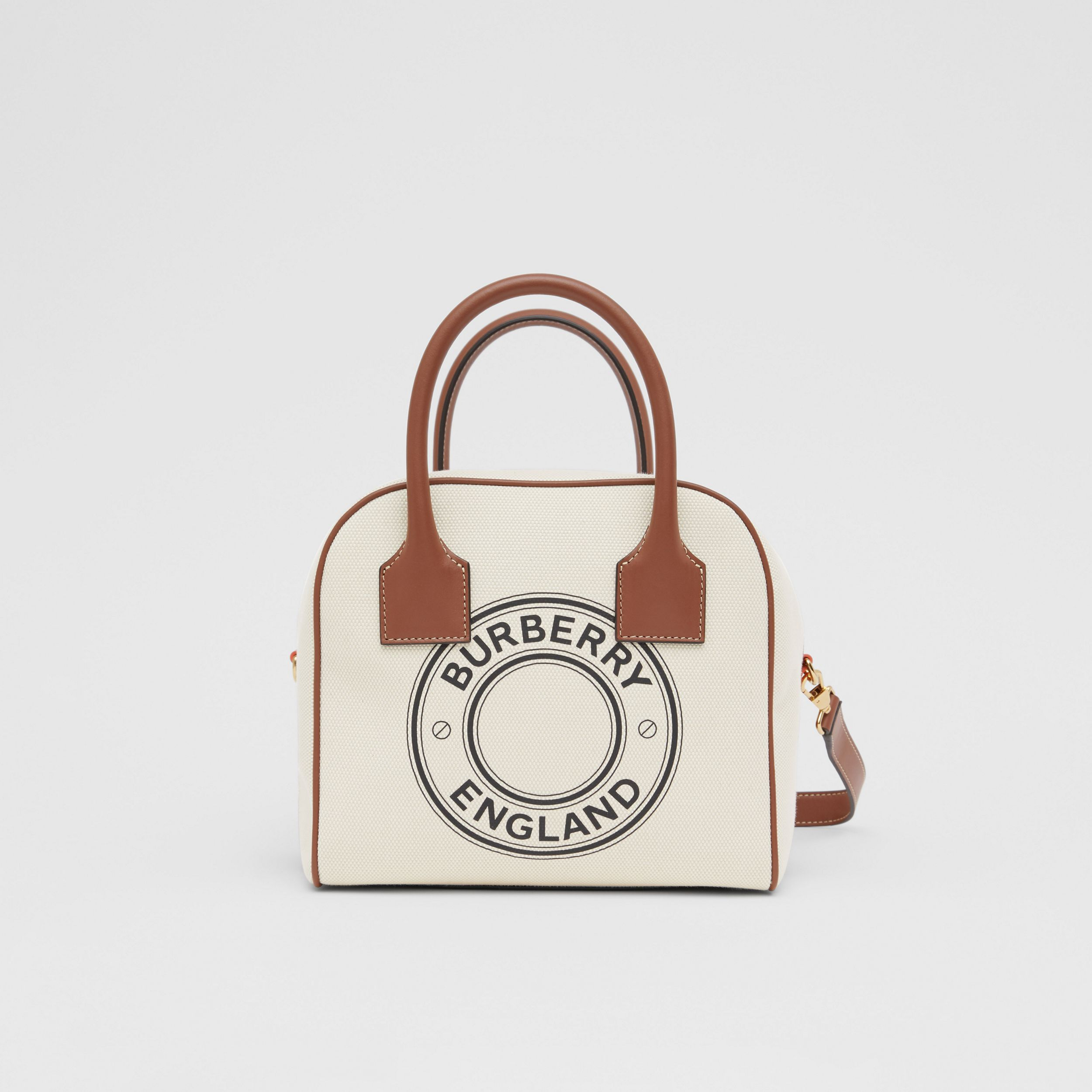 Small Logo Graphic Cotton Canvas Cube Bag in Natural/tan - Women | Burberry Australia - 1