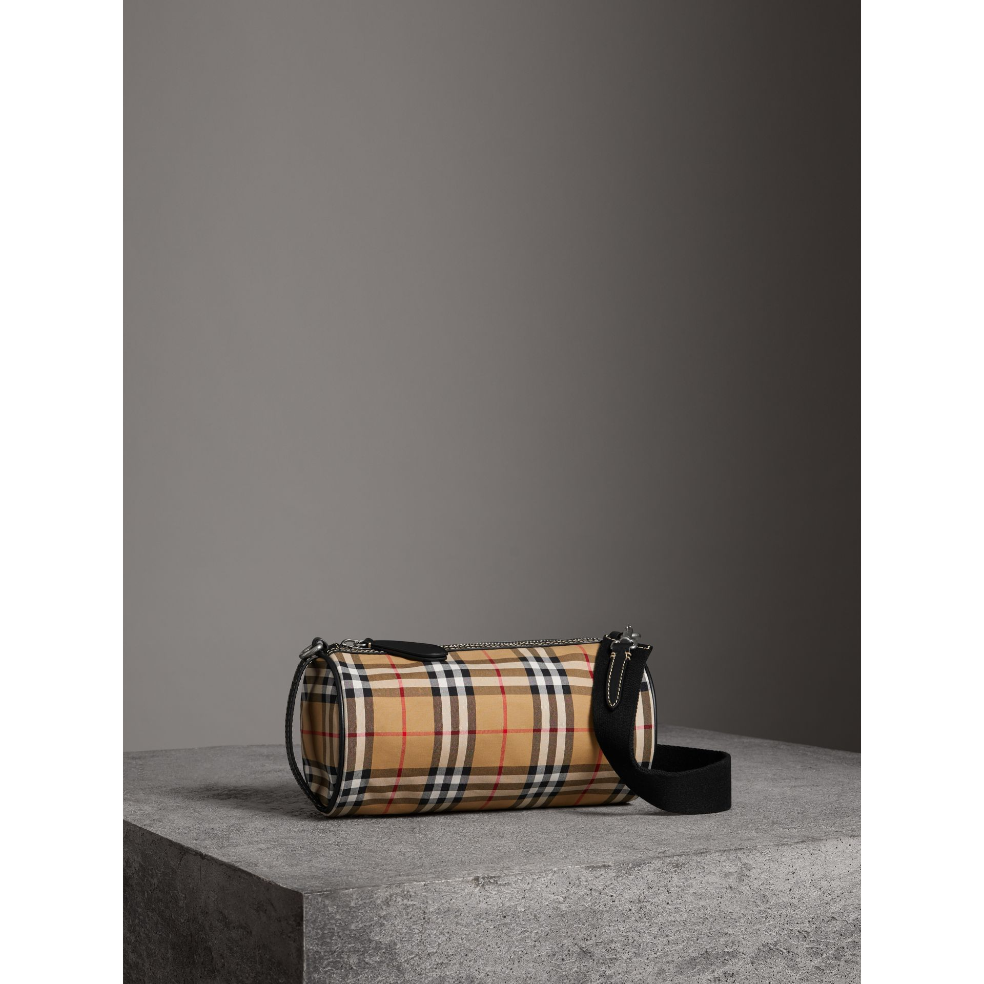The Small Vintage Check and Leather Barrel Bag in Antique Yellow - Women | Burberry United States - gallery image 6