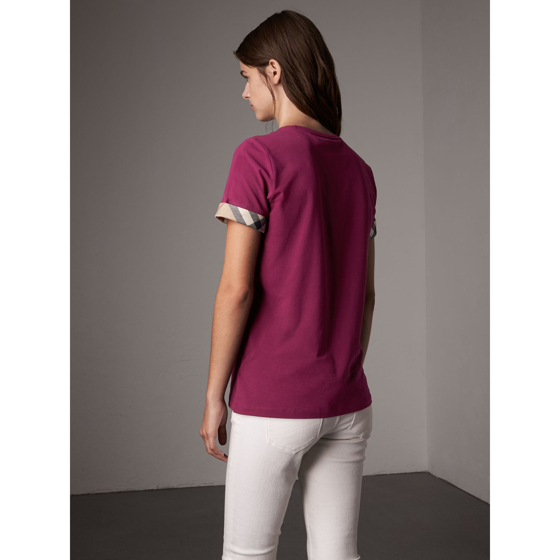 Check Cuff Stretch Cotton T-Shirt in Magenta Pink - Women | Burberry Canada - gallery image 3