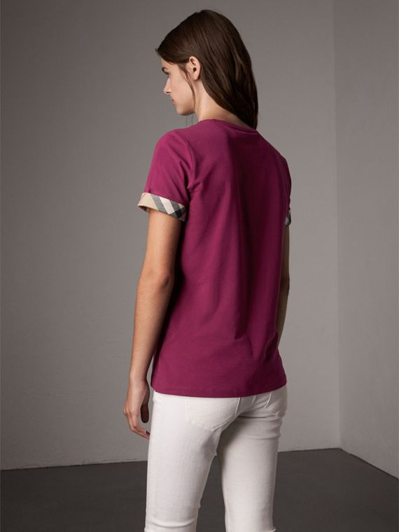Check Cuff Stretch Cotton T-Shirt in Magenta Pink - Women | Burberry Canada - cell image 2