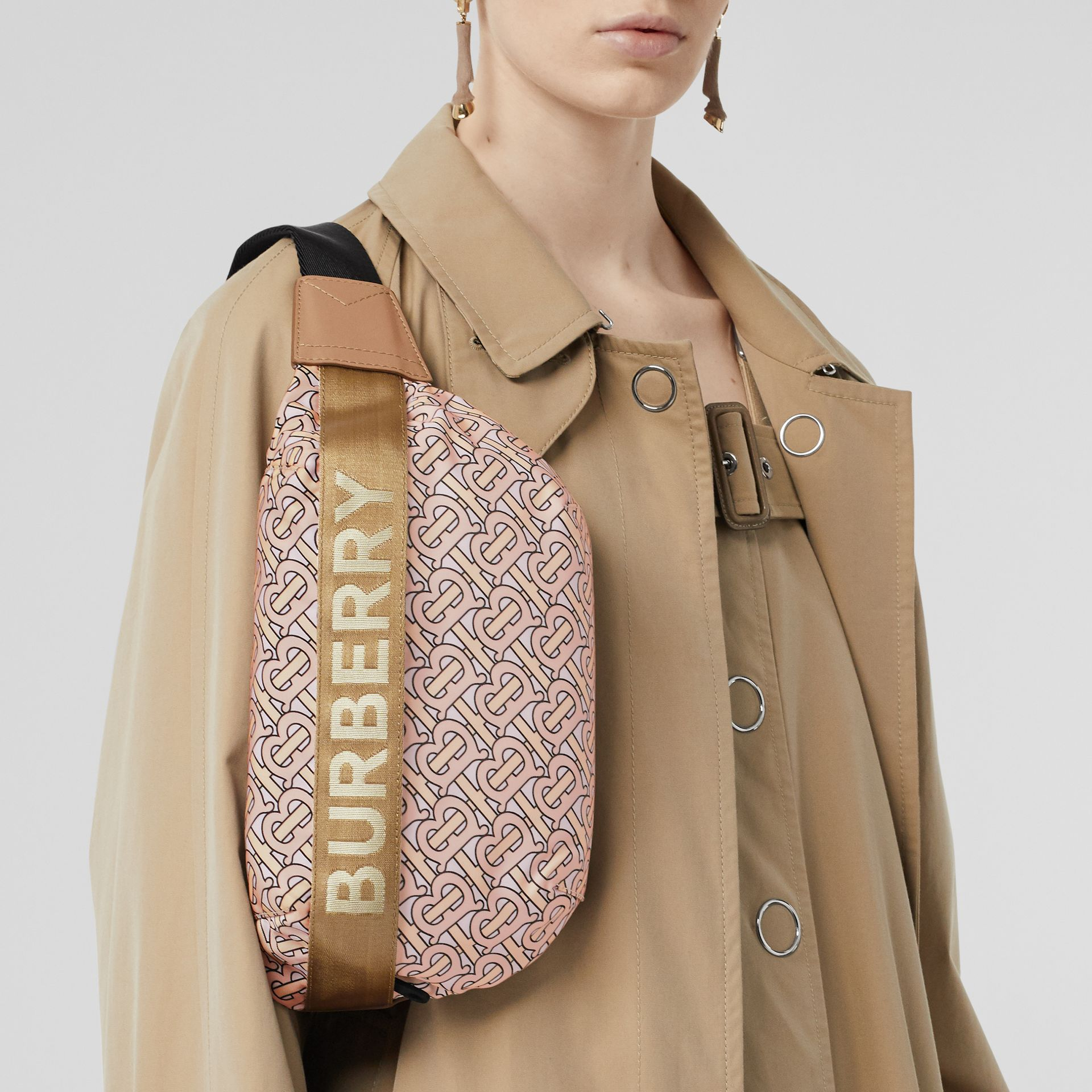 Medium Monogram Print Bum Bag in Blush | Burberry Canada - gallery image 6