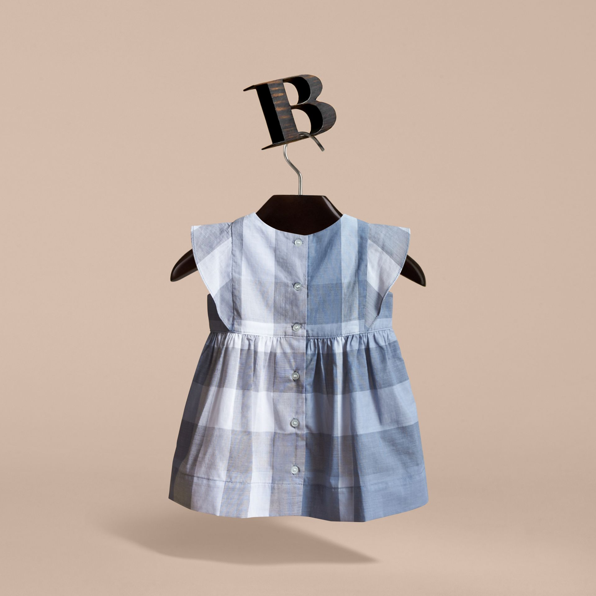Ruffle Detail Check Cotton Dress in Canvas Blue | Burberry Canada - gallery image 4