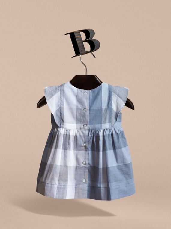 Ruffle Detail Check Cotton Dress in Canvas Blue | Burberry - cell image 3