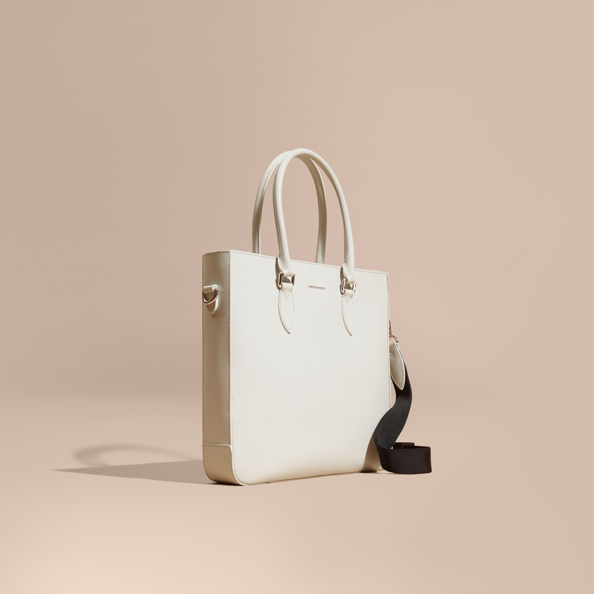 London Leather Tote Bag in Pale Stone - gallery image 1