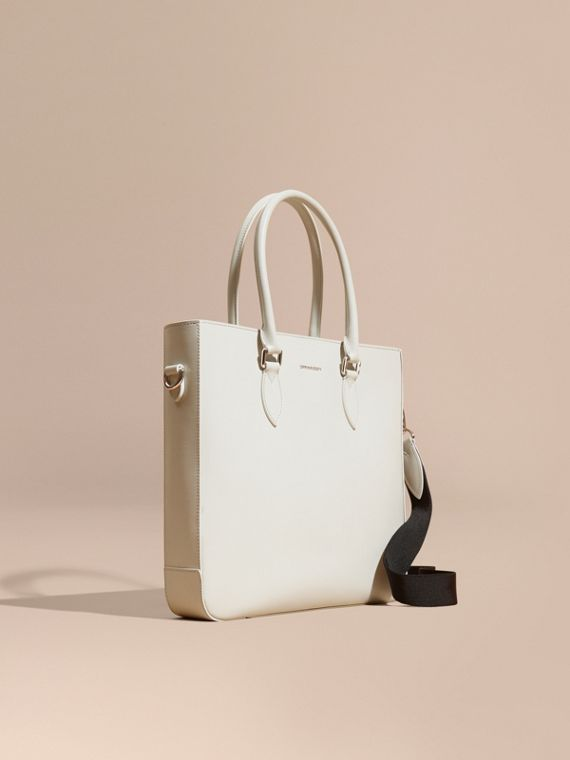 London Leather Tote Bag in Pale Stone