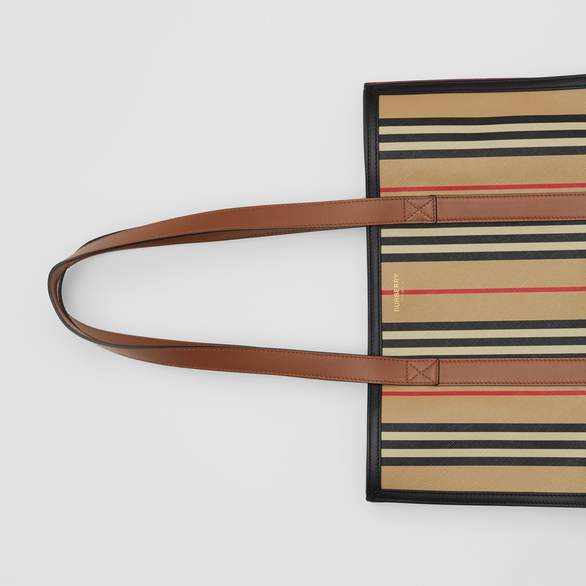 Icon Stripe E-canvas Portrait Tote Bag in Archive Beige | Burberry Canada - gallery image 1