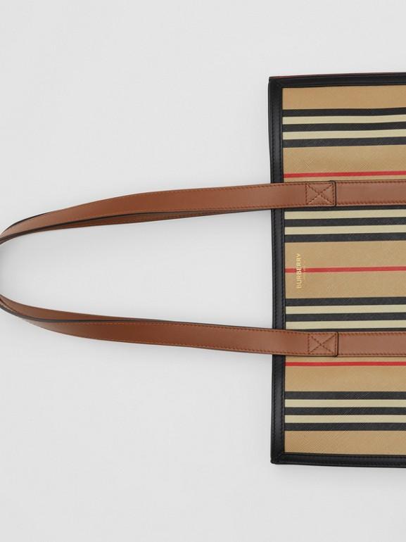 Icon Stripe E-canvas Portrait Tote Bag in Archive Beige | Burberry Canada - cell image 1