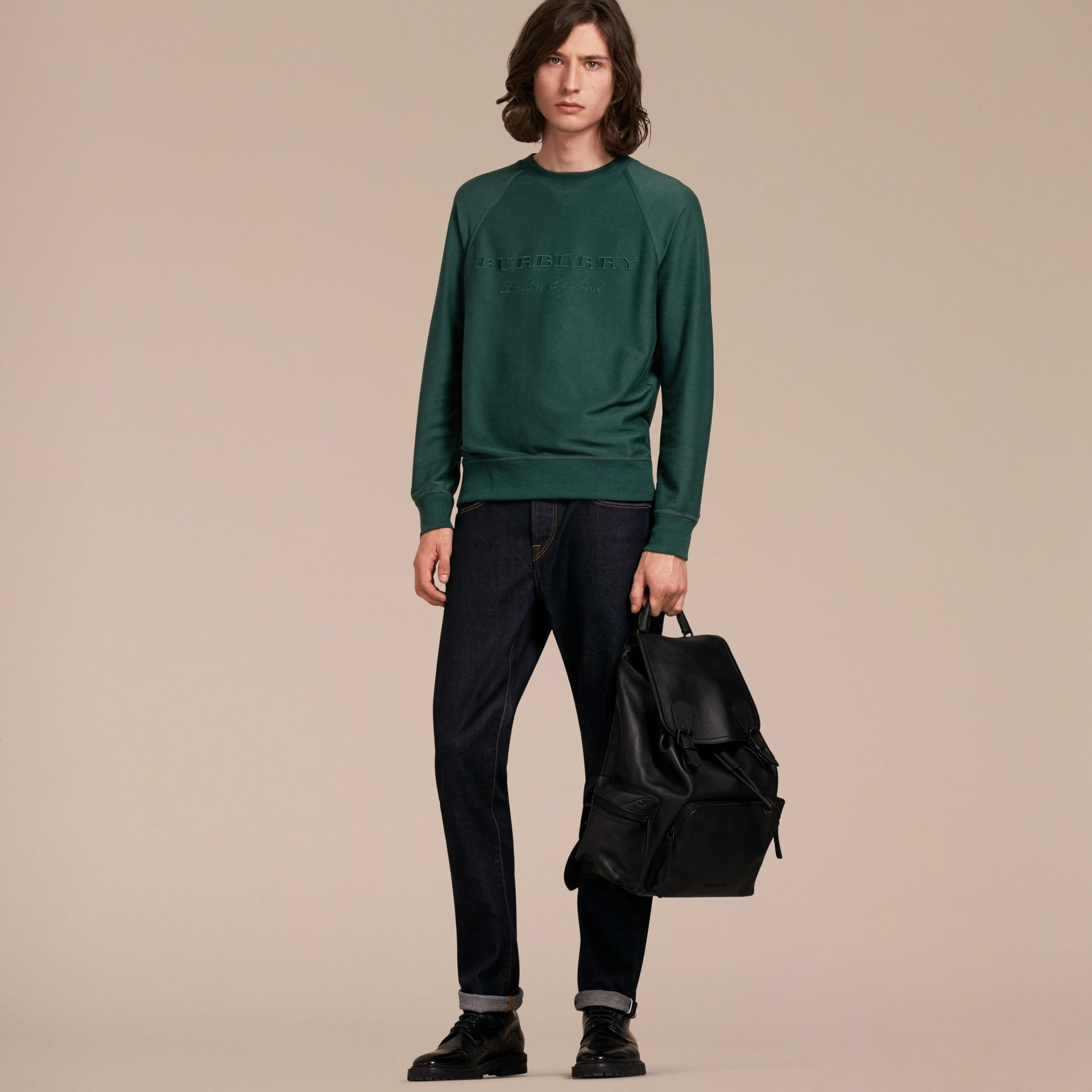 Embroidered Motif Cotton-blend Jersey Sweatshirt in Deep Teal - Men | Burberry - gallery image 6