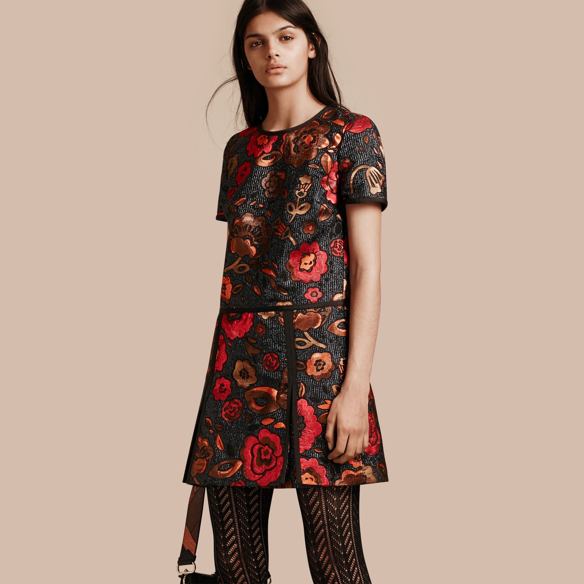 Navy Floral Jacquard T-shirt Dress - gallery image 1