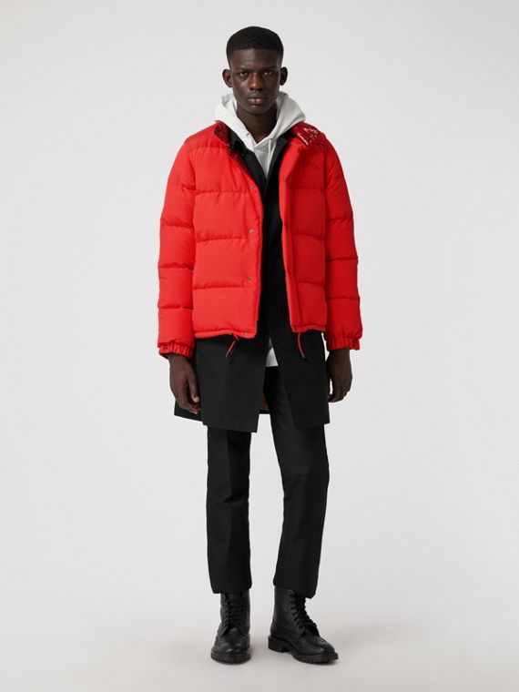 Detachable-sleeve Down-filled Puffer Jacket in Bright Red