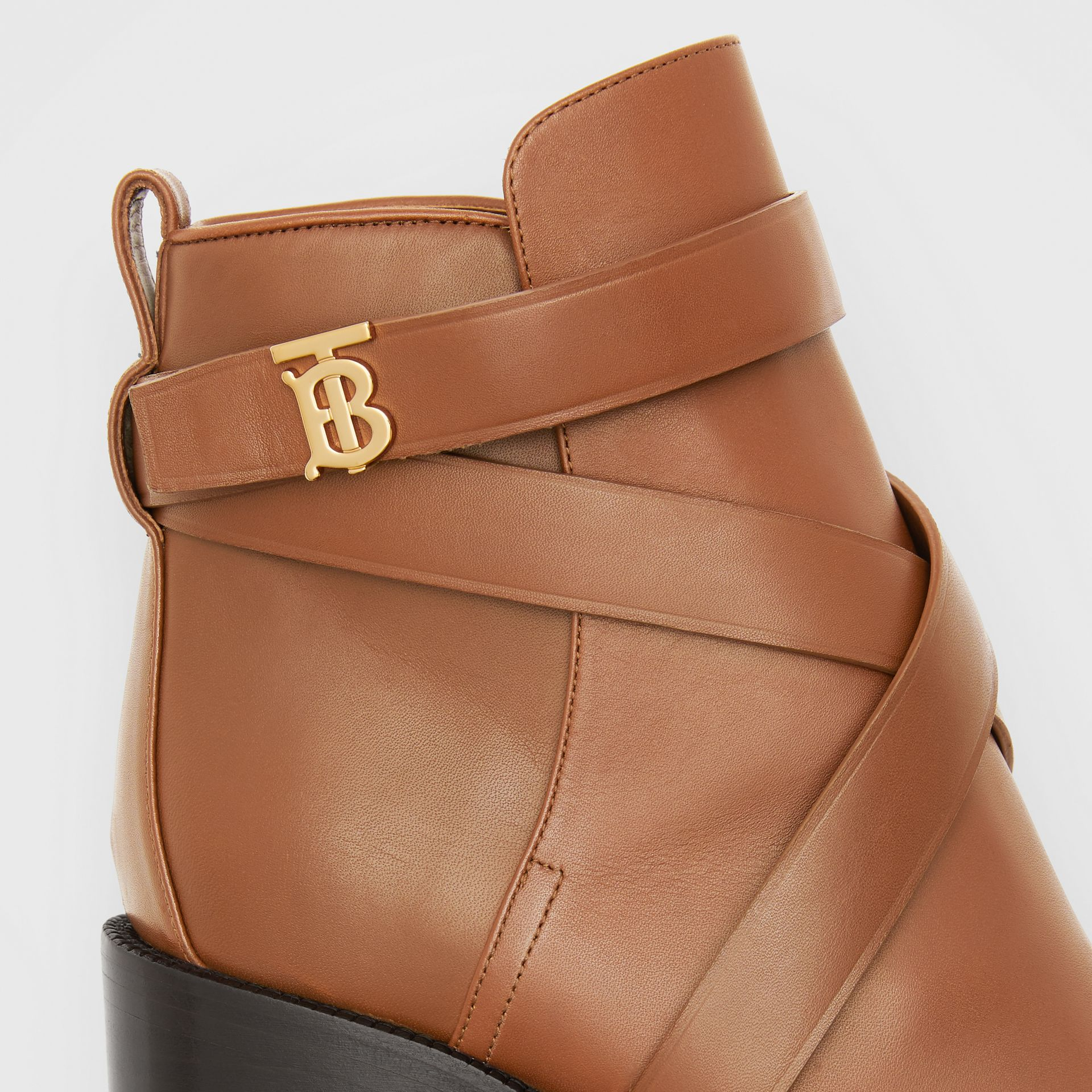 Monogram Motif Leather Ankle Boots in Tan - Women | Burberry - gallery image 1