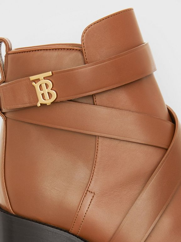 Monogram Motif Leather Ankle Boots in Tan - Women | Burberry - cell image 1