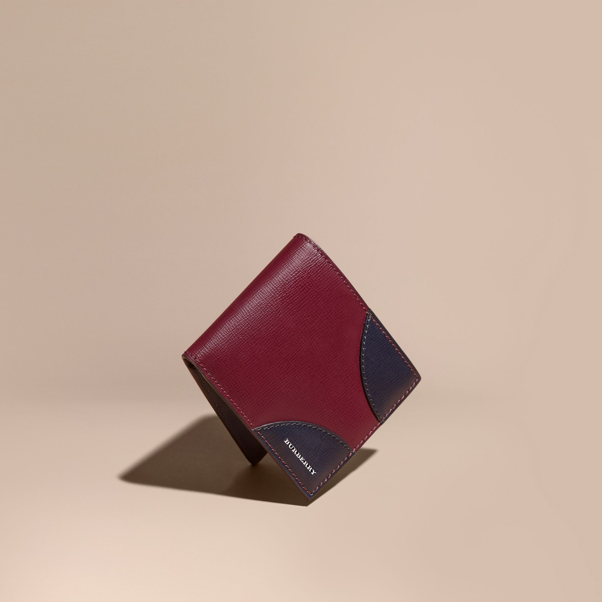 Two-tone London Leather International Bifold Wallet in Burgundy Red - gallery image 1