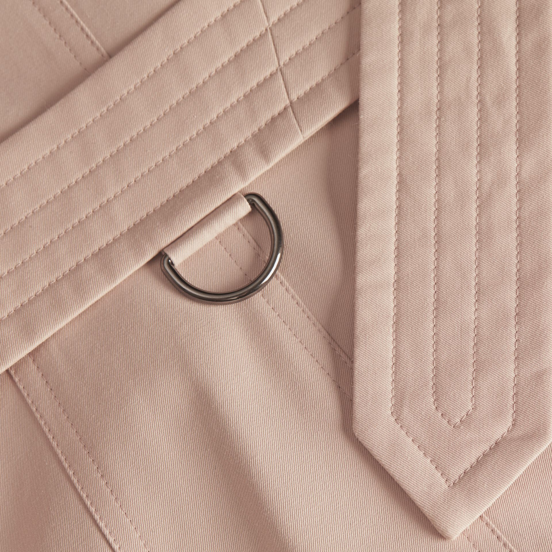 Ice pink Cotton Gabardine Trench Coat - gallery image 2