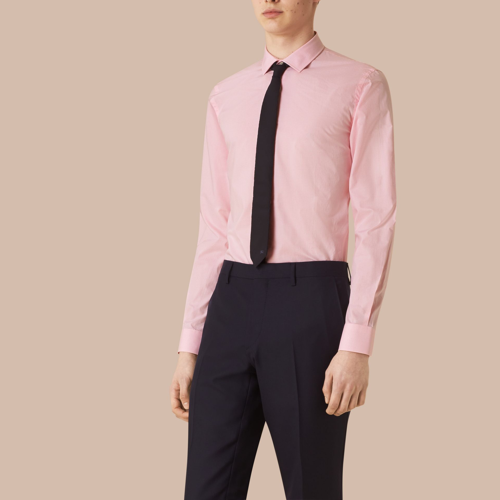 Slim Fit Gingham Cotton Poplin Shirt in City Pink - gallery image 1