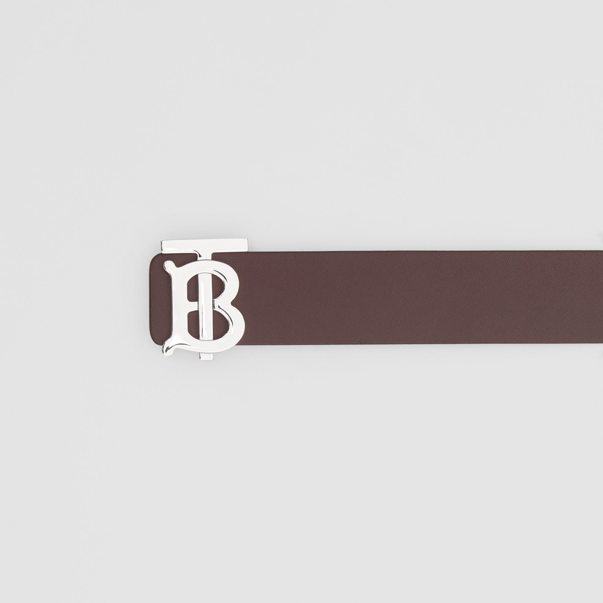 Reversible Monogram Motif Leather Belt in Oxblood - Men | Burberry - gallery image 1