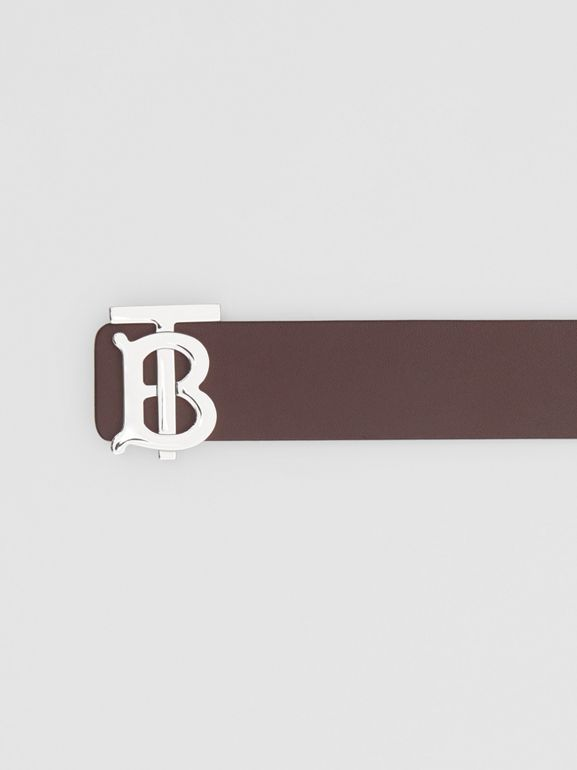 Reversible Monogram Motif Leather Belt in Oxblood - Men | Burberry United States - cell image 1
