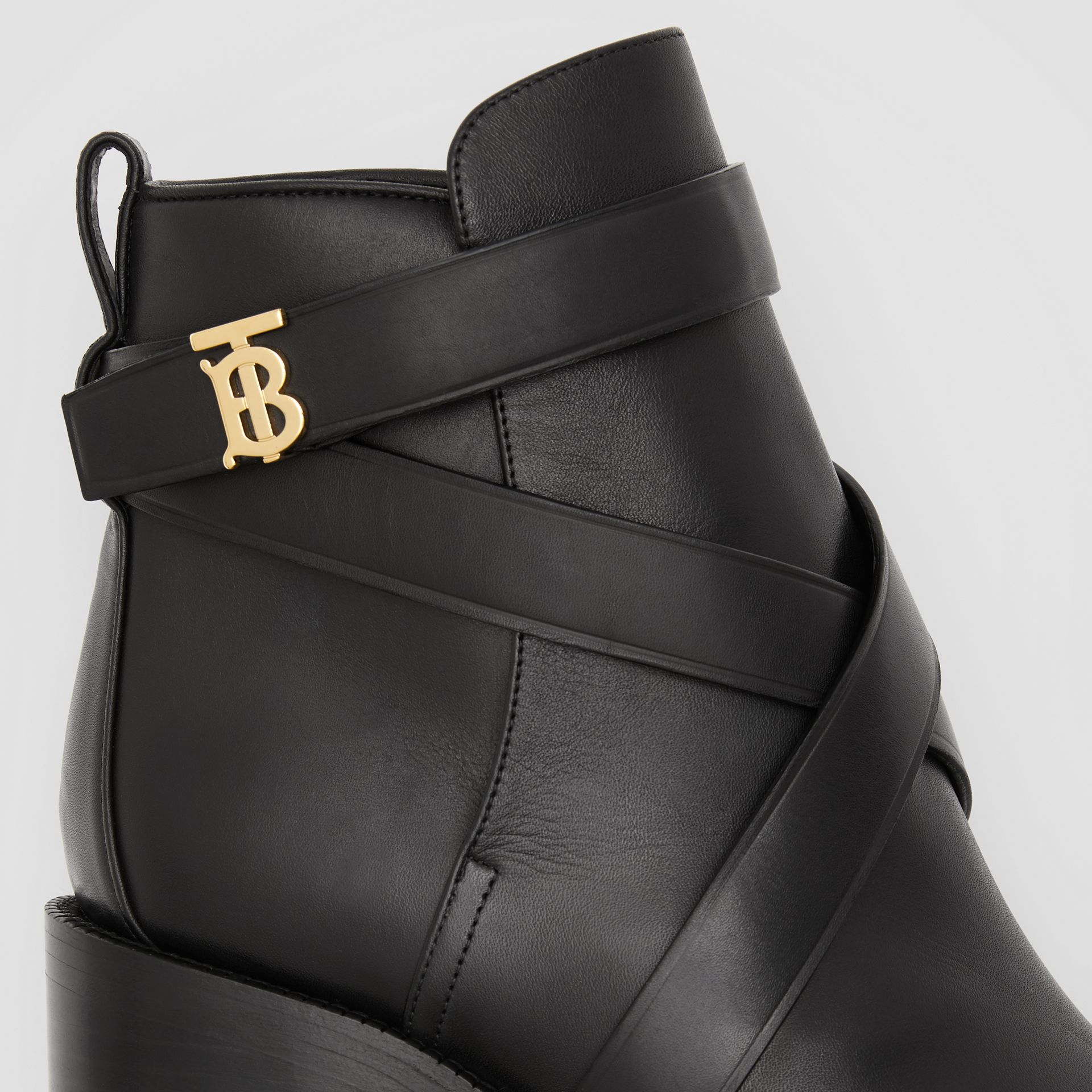 Monogram Motif Leather Ankle Boots in Black - Women | Burberry - gallery image 1