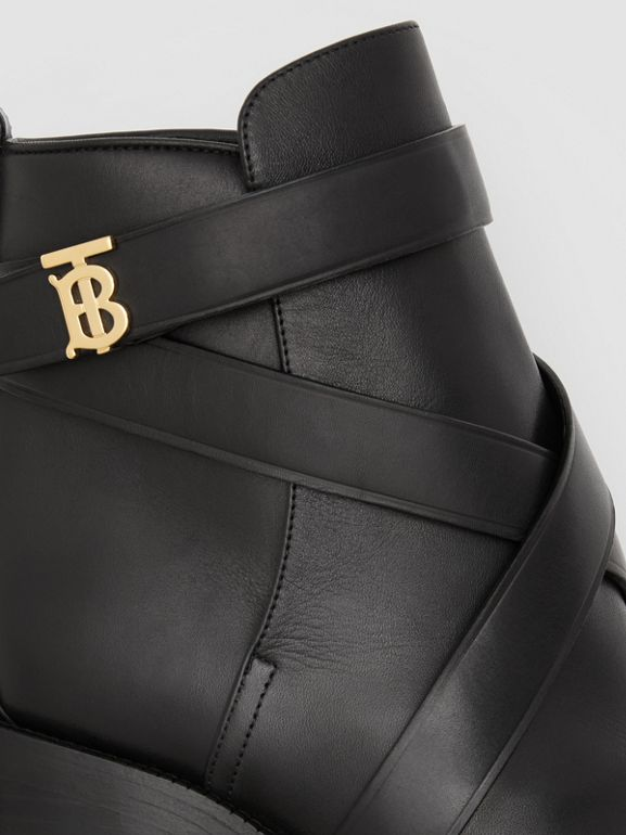 Monogram Motif Leather Ankle Boots in Black - Women | Burberry - cell image 1