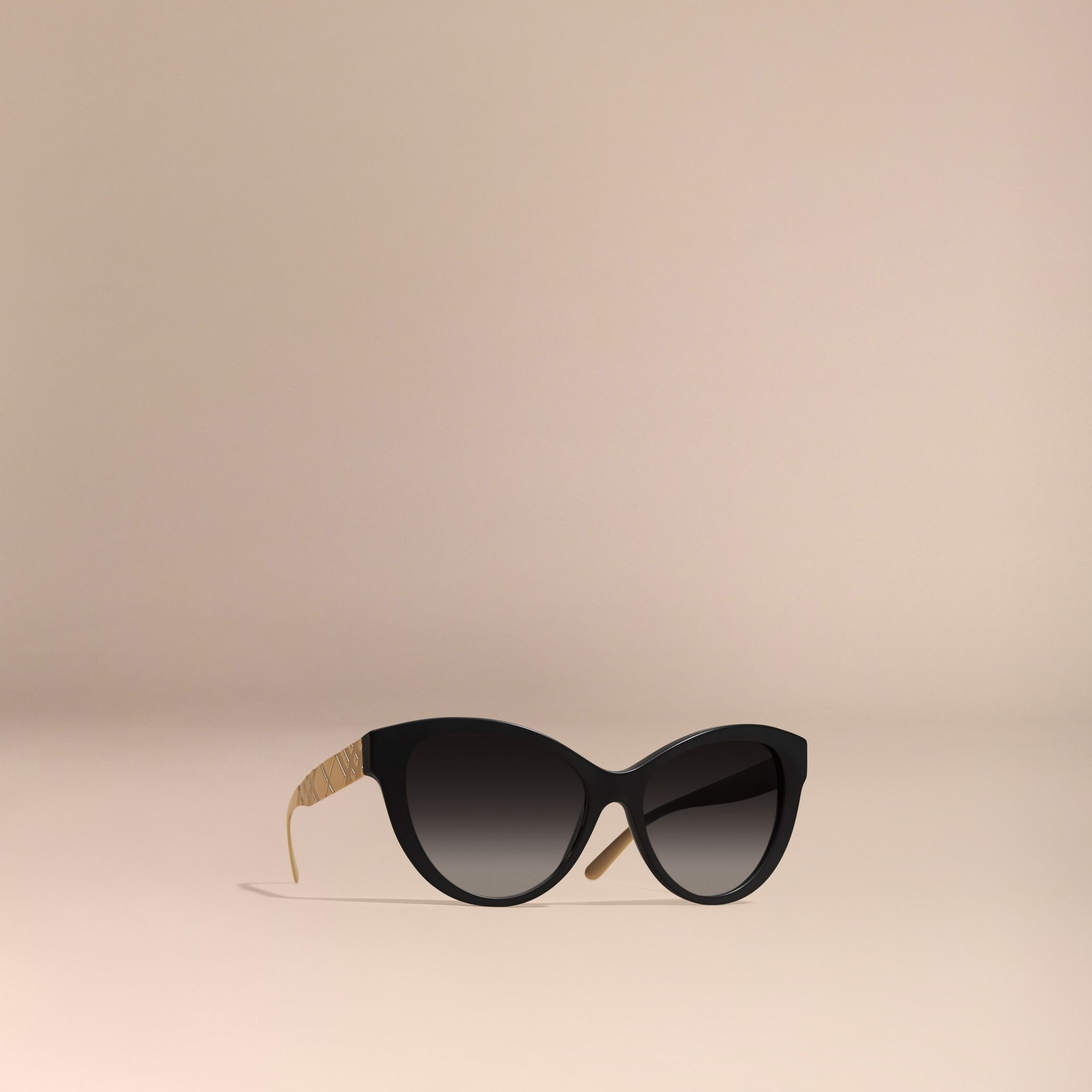 Black 3D Check Cat-eye Sunglasses Black - gallery image 1